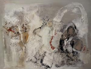 RECORDON végé-toile noir et blanc 1 100x130 cm mixed media
